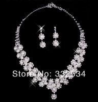 Free Shipping Bridal Necklace Earrings Flowers Rhinestone Crystal Women Accessories Bridal Jewelry Bridal Set 68a20