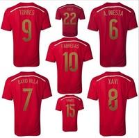 2014 world cup spain Xavi ISCO A Iniesta Fabregas David Villa soccer jersey Original thailand quality football jersey shirt