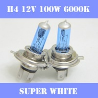 Free Shipping 2pcs/lot of  H4 100W 12V 6000K Super White Xenon Halogen HID  Car HeadLight Bulb Kit Car HeadLight Headlamp, 2014
