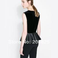 2014 New Black Women Shirt, Velvet PU Patchwork, Cascading Ruffle Sleeveless Back Buttons, O-Neck, XS-XXL Plus Size Blouses