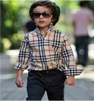 Bu erry children's clothing fashion plaid male female child long-sleeve shirt child shirt t-shirt