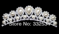 2014 Bridal Crown Pearls Rhinestone Crystal Women Accessories Bridal Jewelry Women's Crown Tiaras Bridal Set 62a9