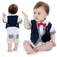 Free shipping 2014 European and American children's summer short-sleeved vest suit baby clothing sets baby summer clothing