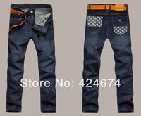 2014  Korea Men's Jeans Slim Fit Classic denim Jeans Trousers Straight Leg Blue Size 30~40 Button New style