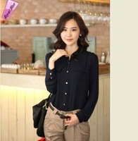 Women Clothing Brand Pockets Shirts 2014 V-Neck Blouse Lady Solid Blouses All-match Lace Chiffon Shirt