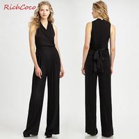 Richcoco normic fashion elegant belt slim high waist sleeveless chiffon jumpsuit V-neck rompers womens jumpsuit,free shipping