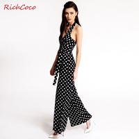 Sexy polka dot V-neck racerback bow sleeveless lacing chiffon jumpsuit plus size female,summer women's jumpsuit,free shipping