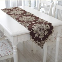 Embroidery table runner table cove table cloth with brown  flower use to home hotel dining room NO.6009  Free shipping