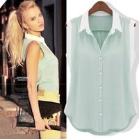 Free shipping!2014 EUROPE Spring Korea Women's  Chiffon Vest  t shirt Women Tank top Loose blouse