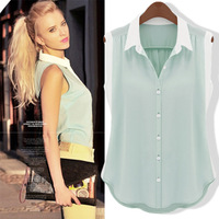 Free shipping!2014 EUROPE Spring Korea Women's  Chiffon Vest  t shirt Women Tank top Loose blouse