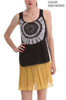 2014 new summer black white two colours desigual women girl crop top S M L free shipping