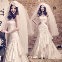 2014 bride princess white sparkling diamond lace tube top fish tail wedding dress train wedding dress