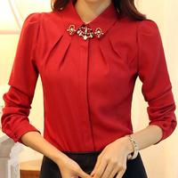 2014 spring ol women's slim female long-sleeve chiffon shirt female long-sleeve shirt women's