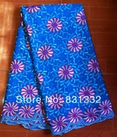 5Yard/lot blue embroidery African cotton lace!hot selling Swiss lace fabric for clothing AMY1061B blue + red