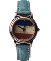Free Shipping 2014 new fashion quartz watch USA and Russia flag. Male and female sports and leisure brand watches children watch