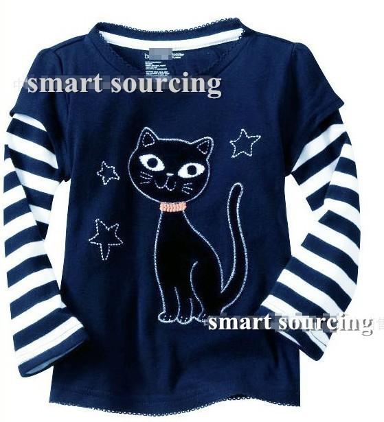 Free shipping 6pcs/lot Baby girls boys long sleeve t-shirt/Tee Baby Tshirt Children cartoon Tshirt kids 100% cotton tops(China (Mainland))