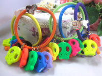 (Our min Order Amount is USD15 ,Can mix order)Free shipping fashion color skull hair ties for kids