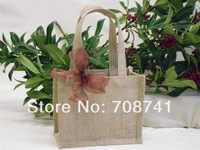 2014 JUTE BAG,SIZE:20WX15HX10D(CM)(not include ribbon),FREE SHIPPING, MINI NATURE JUTE TOTE BAG,CUSTOM BAG AND LOGO ACCEPT