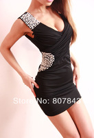 new 2014 fashion Women's Dress Sexy sequin DINNER SUIT clubwear  summer dress petite size