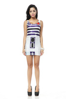 2014 New Arrival Summer Fashion Casual Star Wars R2D2 Robot Printing Sexy Party Bodycon Tank Dress For Women Free Shipping TQ045