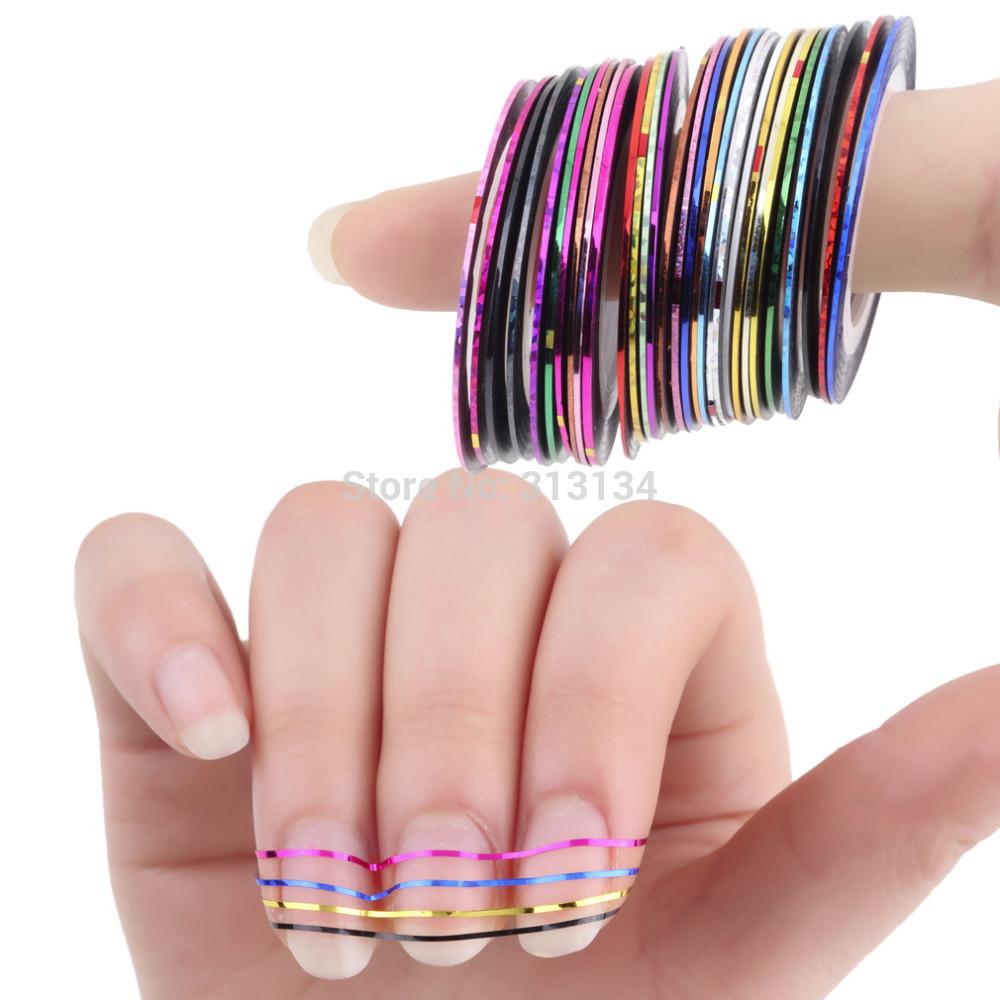 30Pcs/set nail tools Mixed Colors Nail Art Tips nail art sticker Decoration Striping Tape Line for toes nails(China (Mainland))