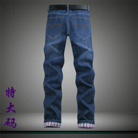 Plus size jeans male roll-up hem trousers fashionable casual denim trousers male