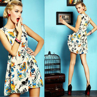 2014 Spring New Fashion Women's Sleeveless High Waist Printed Pleated Dress Zipper on Back, Fashion Casual Party Prom Dress