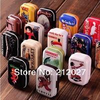 Freeshipping Vintage Style Mixed Design tin box /Collectables/ mini iron case/storage case/pills storage box 32pcs/lot