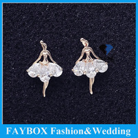 Top quality Pure  Diamond Cubic Zirconia May Flower Stud Wedding Prom Party jewelry Bridesmaids ballet dancer Angels Earring