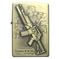 2014 new fine work Sided embossed genuine sniper rifle pattern lighters  creative embossed metal lighter for men 1pcs