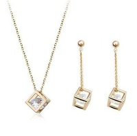 New 2014 Hot Sale Wedding Jewelry Set Fashion 3D Square Zircon Necklaces & Pendants Earrings Crystal Jewelry Set For Women