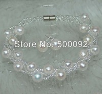Genuine 3strands 7-8mm freshwater pearl Bracelet & Earring wholesale pearl sets