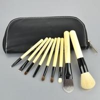 9PCS/Set New Women face brush Cosmetic Brush make up brush set Tool Kit + Zipper Leather Pouch case