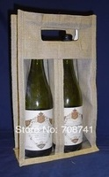 Free Shipping,Size:20WX35HX9D(cm),50pcs/lot,two bottles Jute wine bottle Bag with clear window,custom bag and logo accept
