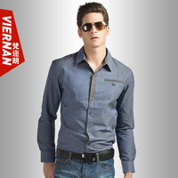 Men's clothing male business casual long-sleeve shirt slim water wash faux denim shirt star style