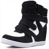 2014 spring women's sneakers Height Increasing colorant match velcro high-top casual shoes sport shoes