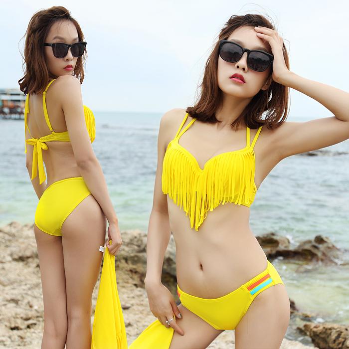2014 bikinis25 piece set steel size push up women's swimwear sexy swimwear hot springs tassel(China (Mainland))
