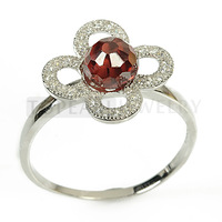 Topearl Jewelry Fine 925 Sterling Silver 6mm Red Cubic Zirconia Flower Ring 9SR111