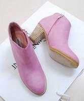 Ayomi2013 sweet ladies vintage rustic thick heel high-heeled boots pink