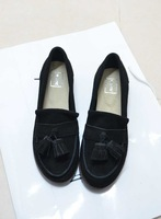 Ulzzang 2014 spring fashion tassel genuine leather cowhide single shoes flat women's shoes