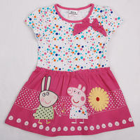 2014 new fashion nova kids peppa pig with embroidery tunic dot top with bow hot summer baby girl party fushcia dress