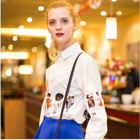 2014 Spring Summer American European New Fashion Women's Fashion Cartoon Cats Printed Long Sleeve Chiffon Shirt Blouses