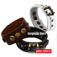 2014 New Fashion Handmade Women Punk Rivet Leather Bracelets & Bangles Wholesale, Can Mix Color, AA010