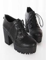 Ulzzang2014 spring thick heel high-heeled platform casual lacing HARAJUKU single shoes women's shoes
