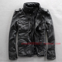 2014 new Autumn Alpha hunting jacket motorcycle jacket calf skin leather clothing stand collar genuine leather  coat  Y2P0 TP