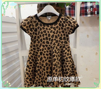 new 2014 spring and autumn female leopard dresses children's clothing one-piece dress spring leopard print dress free shipping