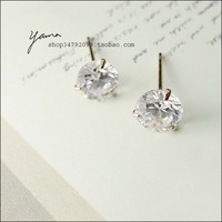 2 - 18k rose gold . hot-selling classic inlaying zirconium diamond stud earring