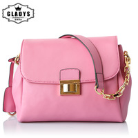 2014 women's the trend of fashion handbag candy color handbag messenger bag fashion genuine leather chain bag female