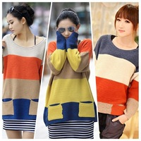 Fashion Women Knitted Sweater Color Block Stripe Pockets Long Sleeve Loose Pullover Outerwear