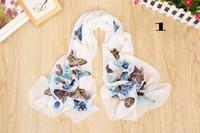 Hot sale Butterfly  Print new Korean Brand chiffon scarf women Fashion thin scarves gift for women X015